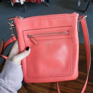 Coral Coach Leather Crossbody
